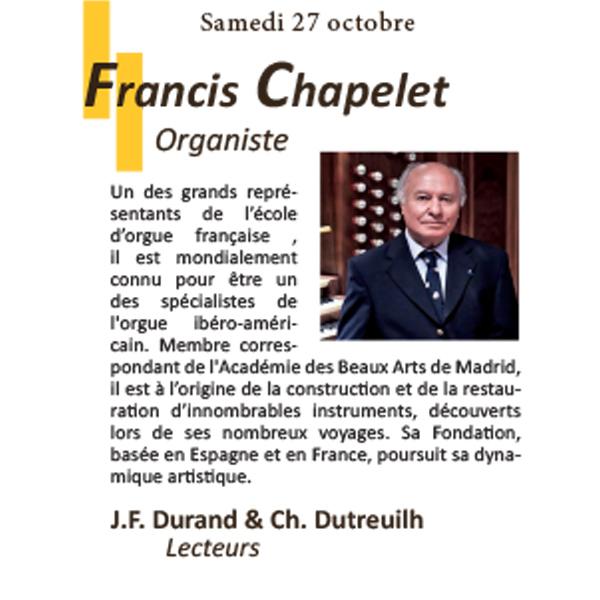 Francis Chapelet Concert Orgue en Fête 2018