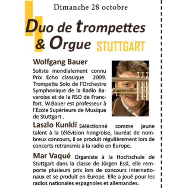 Wolfgang BAUER Laszlo KUNKLI Mar VAQUE Orgue et Trompettes Orgues en Fête 2018