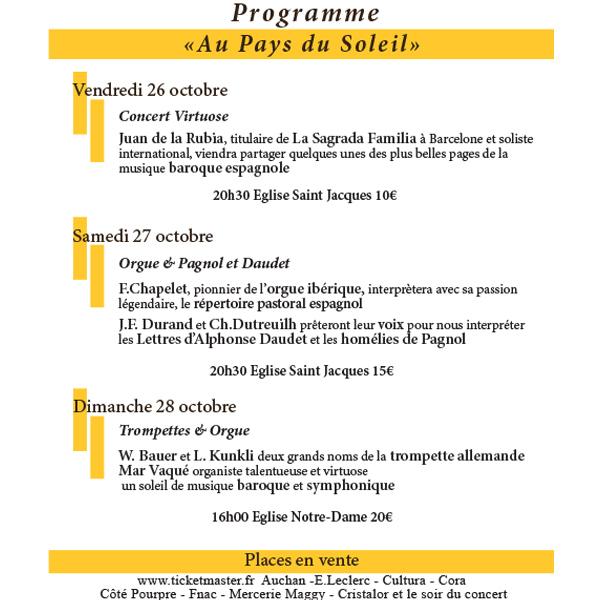 FESTIVAL «ORGUE EN FÊTE» 5ème Edition 26, 27, 28 Octobre 2018