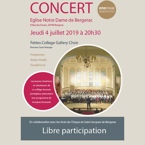 Fettes College Gallery Choir Jeudi 04 juillet 2019 Notre Dame de Bergerac