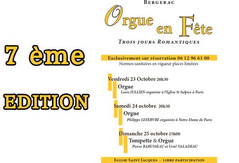 FESTIVAL « ORGUE EN FÊTE » 7ème Edition 23, 24, 25 Octobre 2020