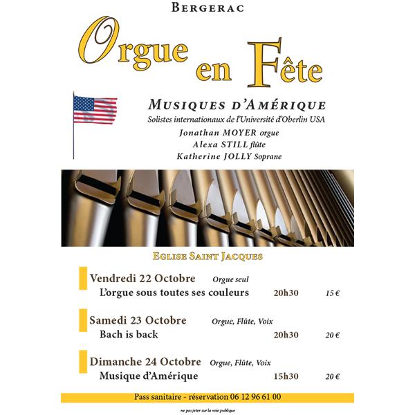 La 8ème édition du Festival d'Orgue à Bergerac (Dordogne), fête les États Unis et ses soliste d'OBERLIN (USA)